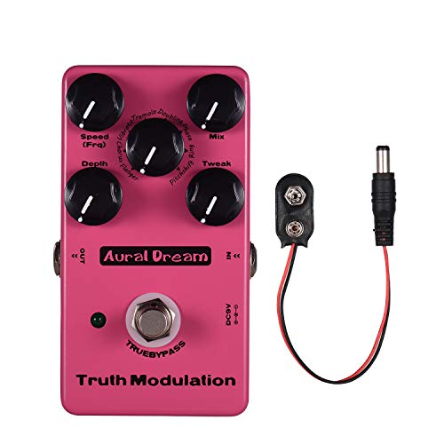 Muslady True Modulation Guitar Effect Pedal 8 Sound Modes Including Flanger/Chorus/Vibrato/Tremolo/Doubling/Phase/Ring/Pitchshift Aluminum Alloy Shell with True Bypass