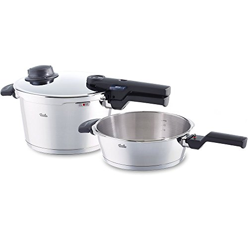 Fissler vitavit comfort/Pressure Cooker Set. 2-Pieces, Stainless Steel Pressure Cooker 4.5 l, Pressure Skillet 2.5 l (induction-compatible, dishwasher-safe, Ø 22 cm) - 610-300-11-000/0