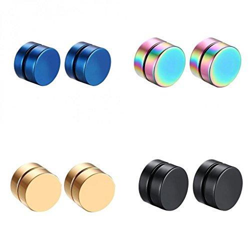 #N/A/a 4 Pares de Pendientes Magnéticos de Acero Inoxidable para Hombres Y Mujeres con Clip No Perforante de 8 Mm