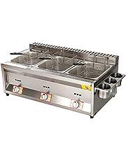 22L grote capaciteit gasfriteuse, roestvrij staal LPG friteuse voor huis en commerciële, verstelbare vuurkracht, met manden en deksels, voor chips donuts vis, gemakkelijk Clea