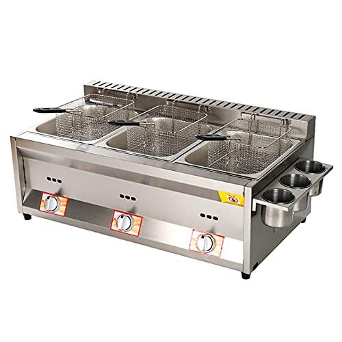 Deep Fryer Friggitrice a Gas da 22 Litri, da banco in Acciaio Inossidabile Leggero Commerciale, accensione Elettronica a impulsi Antiscivolo, Risparmio energetico, Facile da Pulire
