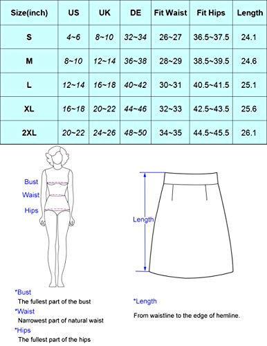 Belle Poque Vintage Pencil Skirts for Women Knee Length Midi Office Skirt S, Navy Blue