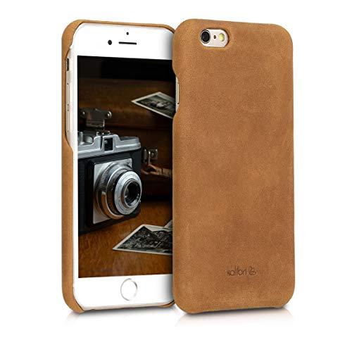 kalibri Hülle kompatibel mit Apple iPhone 6 / 6S - Leder Handy Cover Case - Hardcover Schutzhülle Hellbraun