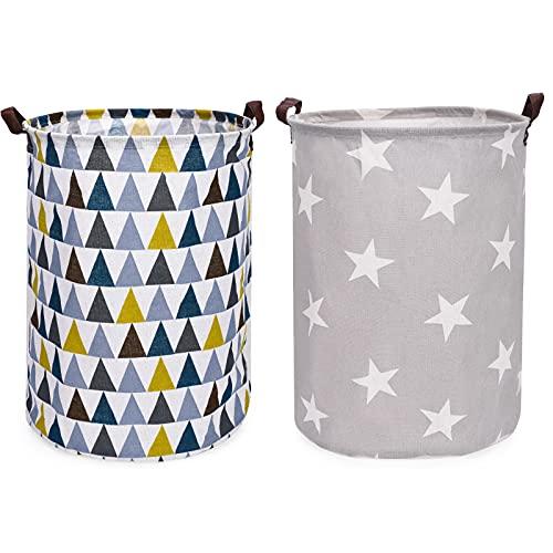 Seebel 2PK Freestanding Laundry Basket Canvas Fabric Collapsible Organizer Basket for Storage Bin Toy Bins Gift Baskets Bedroom Clothes Children Nursery Hamper (Star, Triangle) 16'x 18.9'