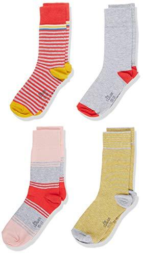 s.Oliver Socks Mädchen S20597 Socken, Rosa (Hibiskus 3214), 39 (Herstellergröße: 39/42) (4er Pack)