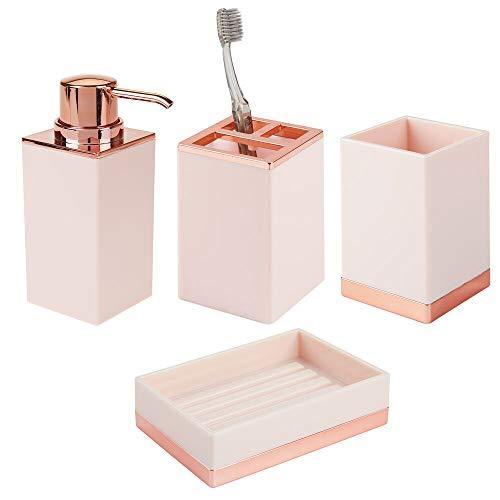 mDesign 4er-Set Badzubehör - Zahnbürstenhalterung, Seifenspender, Seifenschale und Becher im eleganten Design - Badset aus robustem Kunststoff - pink/rotgold