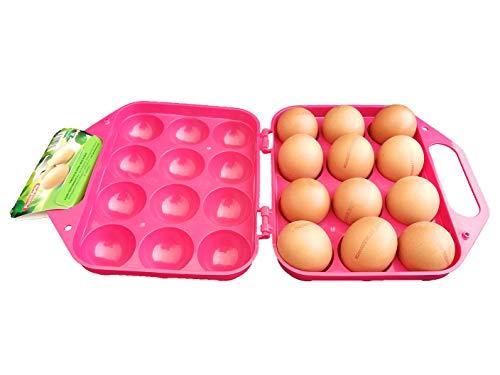 DAKE Portauovo in plastica per frigorifero, 12 pezzi (fucsia)