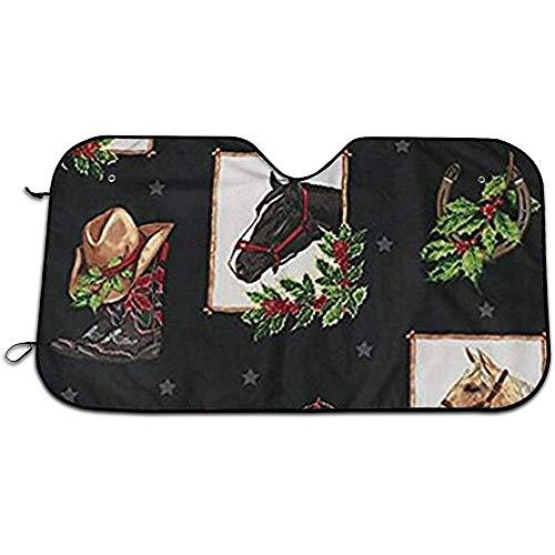 KDU Fashion Voorruit Zonneschaduw, Jolly Kerst Paarden Praktische Auto Voorruit Zonneschermen Voor Minivan Suv Auto, 140 * 76cm