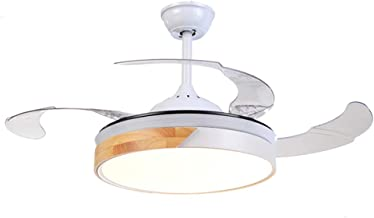 QUKAU Invisible Fan Light 42inch Light dimmable Remote Control Simple Modern Restaurant Ceiling Fan Light Nordic Living Room lamp Bedroom LED Fan Light (White)