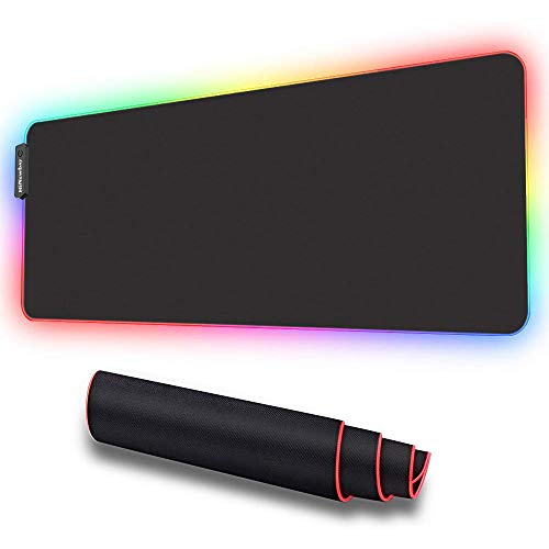 HiNewBay RGB Soft Gaming Mouse Pad, Larger & Thicker, Oversized Glowing Led Extended Keyboard Mat (14 Lighting Modes), Non-Slip Rubber Base, with Extended USB Cable, Black, 31.5X11.8X0.16 Inch