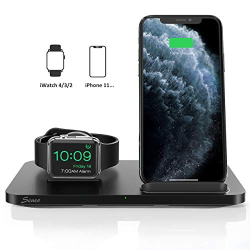 Seneo Dual 2 in 1 Wireless Charger [New Version], iWatch Charging Stand, Nightstand for Apple Watch Series 5/4/3/2, 7.5W Fast Charge for iPhone 11/Pro Max/XR/XS/X/8 (No iWatch Cable or Adapter)