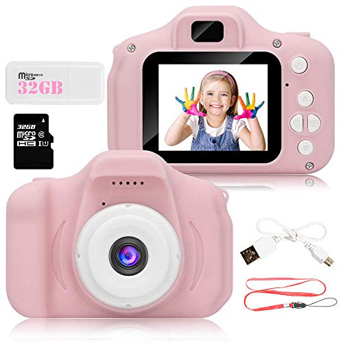 Kids Digital Video Camera for Girls 3-10 Years Old,5.0MP Rechargeable Camera Shockproof 1080P HD Cameras Camcorder for Girls Kids Toddler Indoor Outdoor Travel(32GB Memory Card Included) (Pink)