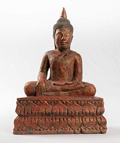 Estatua de Buda – Antiguo Khmer Style SE Asia iluminación de madera Buda – 30 cm