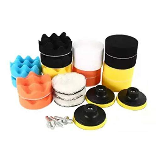 SyeRum Esponja de pulido para coche, 25 piezas de esponja de pulido con almohadilla de pulido y adaptador de taladro M10, esponjas de pulido para coche, pulidora y encerado