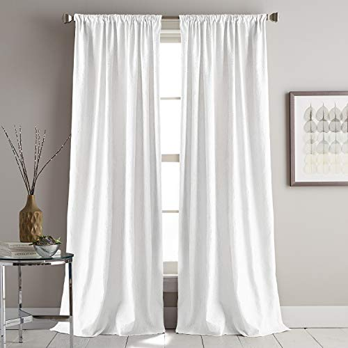 DKNY Urban Melody Faux Suede Room Darkening Window Curtain Single Panel, 63-inch, Ivory