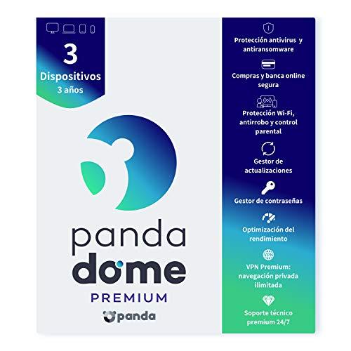 Panda Dome Premium 2021 – Software Antivirus | 3 Dispositivos | 3 años | VPN Premium | Soporte Técnico 24 7 | Antiransomware | Gestor de Contraseñas | Protección Wifi y Antirrobo | Control Parental