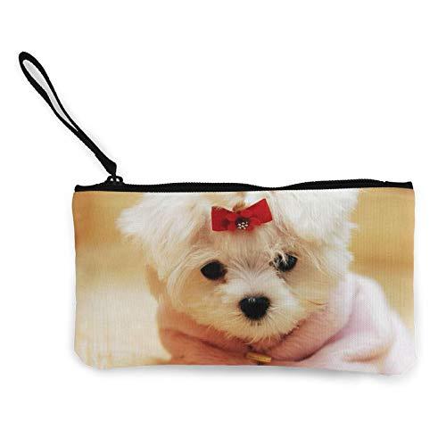 Moneda de lona, fotos de cachorros, bolsa de cosméticos de viaje con cremallera, bolsas de maquillaje multifunción para teléfono móvil, bolsa de lápiz con asa