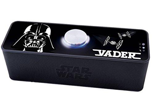 Star Wars Lexibook BT500SW - Mini Altoparlante Disney, Bluetooth 3.0, Design Darth Vader, Nero/Bianco