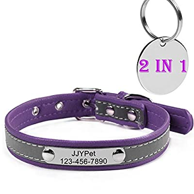 M JJYPET Personalized Dog/Cat Collars Engraved Pet Collar with Name Plated,Reflective,Size Available:Extra-Small Small Medium Large Extra-Large