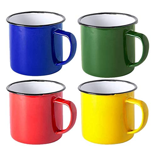 FUN FAN LINE - Set de tazas metálicas vintage o retro presentada en caja individual (Multicolor 2, 4 tazas)