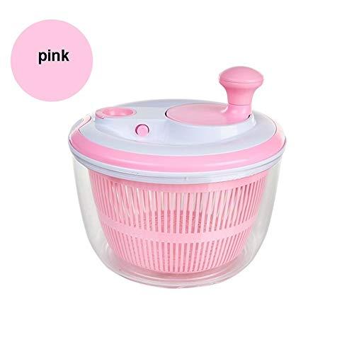 BCGT Salatschleuder Große 5L Größe BPA frei Clips & Locking Tabs for Sicherheit Dry & Drain Salat leicht Crisper Salate in der halben Zeit Bowl geht von Prep Tabelle (Large) (Color : Pink)