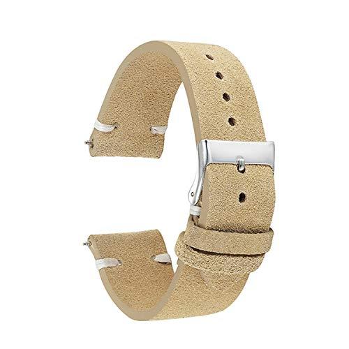 Wildleder Uhrenarmbänder Armband Khaki Retro Handmade Watch Strap für Woemn Men 18mm 20mm 22mm Armband, Khaki White Line, 22mm