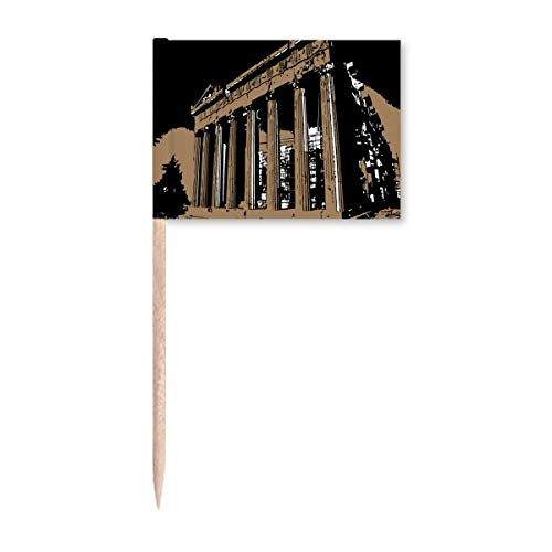 Griechische Akropolis Athen, antike Zahnstocher, Flaggen, Marker, Topper, Party-Dekoration