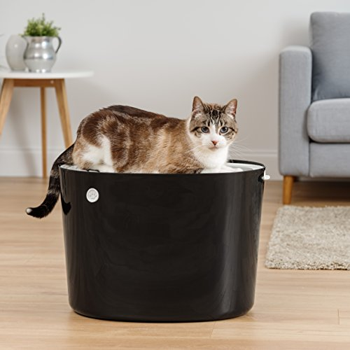 IRIS USA Top Entry Cat Litter Box with Cat Litter Scoop, Black & White PUNT-530