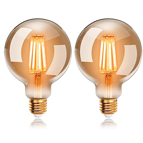 Ampoules LED 6W Edison Vintage G95, Blanc Chaud 2200K E27, Equivalent à Ampoule Incandescente 48W, EXTRASTAR Ampoule Rétro à Filament, Rétro Antique Lampe décorative, Non-Dimmable, Lot de 2