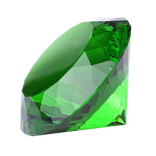 Decoração em forma de diamante de vidro cristal 60 mm joia peso em papel, ideia de decoração de presente para o Natal, Ação de Graças e aniversário, Verde
