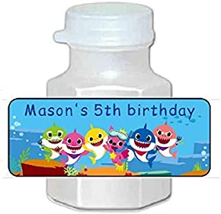 30 baby shark bubble labels, birthday party decorations or favors, Personalized