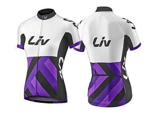 LIV Race Day XS Jersey de manga corta para ciclismo, bicicleta de montaña, calle, mujer, blanco, morado, bolsillos traseros, cremallera, manga corta
