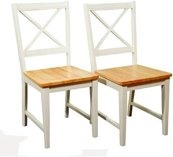 Target Marketing Systems Set Of 2 Virginia Cross Back Chairs Set Of 2 White Natural
