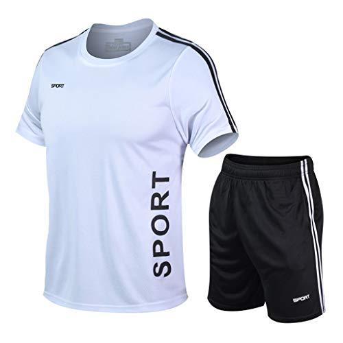 Yowablo Hommes Compression Survêtement Fitness Serré À Séchage Rapide Courir Ensemble T-Shirt Legging Sportswear Gym Sport Costume (4XL,1Blanc)