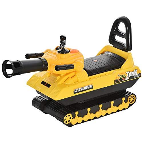 HOMCOM Sitzbagger für Kinder Spielzeugauto für 3 Jahre Kinder Rutscherauto Laufrad Panzer mit Stauraum Bälle Gelb+Schwarz, 68 x 24 x 41,5 cm
