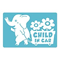 imoninn CHILD in car ステッカー 【マグネットタイプ】 No.76 花屋のゾウさん (水色)