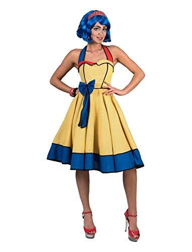 Popart Retro Neckholder Kleid für Damen - Gelb - Gr. 48 50