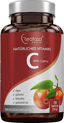 REDFOOD® Camu Camu Extrakt 600mg natürliches Vitamin C Hochdosiert XXL Dose 250 vegane Kapseln laborgeprüft und hergestellt in Deutschland