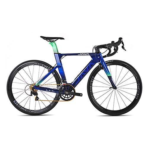 MICAKO Bicicleta de Fibra de Carbono - Bicicleta de Carretera 700C de Fibra de Carbono con Sistema de Cambio SHIMANO-22 Velocidad, neumáticos 46/48/50/52/54cm y Freno Doble V,Azul,48cm