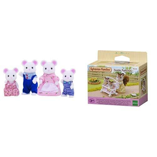 Sylvanian Families- White Mouse Family Mini Muñecas y Accesorios, Multicolor (Epoch para Imaginar 3111) + Toilet Set Mini muñecas y Accesorios, Multicolor , Color/Modelo Surtido