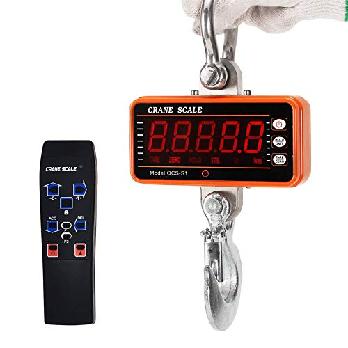 Vogvigo Digital Crane Scale 1000KG 2000LBS Aluminum Hanging Scale Industrial Heavy Duty Compact High Precision Hoists Scales Smart Type LED Display Wireless Hook Scale Orange with remote control