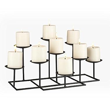 Southern Enterprises Black Metal Frame Geometric Transitional, 9 Candles, Style