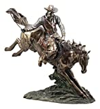 Ebros Large Western Cowboy On Horse Statue 19' Long Faux Bronze Resin Cowboy Rider with Lasso On Bucking Horse Figurine