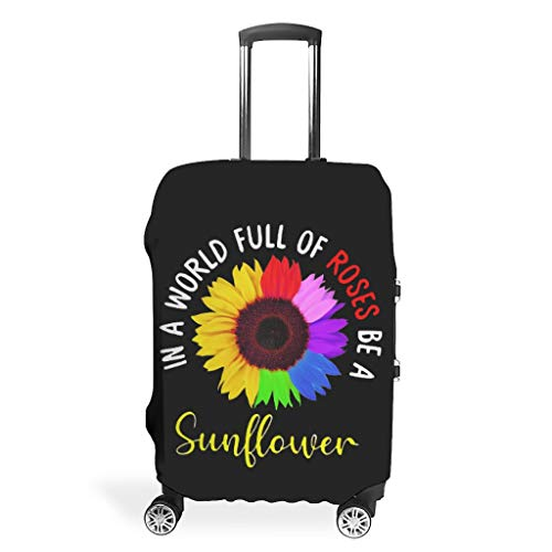 Luggage Sleeve Protector In a world full of roses be a sunflower Anti-scratch Suitcase cover for 26'-28' Luggage white l (66x96cm)