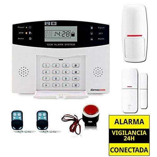 Alarma Hogar AZ028 gsm Castellano sin cuotas para casa. Facil instalación. Asistencia telefónica en Castellano. App con Control Remoto SMS. Facil configuración. Protección y Seguridad hogar (Kit 1)