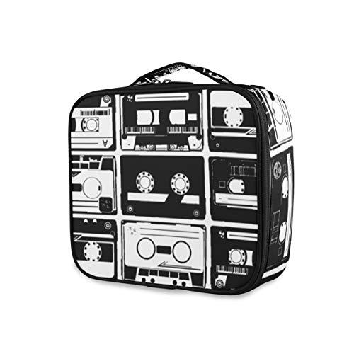 SUGARHE Seamles alte Retro Audio Kassetten,Make Up Bag, Kosmetik Reise Kulturbeutel Täschchen mit...