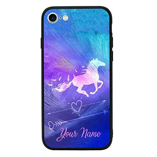 I-CHOOSE LIMITED Personalisiert Dein Name Pferd Gehärtetes Glas Zurück Hülle Kompatibel mit iPhone 8 Plus - Telefon Stoßstangenschutz für 5,5 Zoll Display