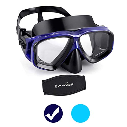 OMGear Diving Mask Snorkeling Gear Kids Adult Snorkel Mask Dive Goggles Silicone Swim Glasses Scuba Free Diving Spearfishing Anti-Leak Anti-Fog Neoprene Strap Cover Impact Resistance(Adult/Blue)