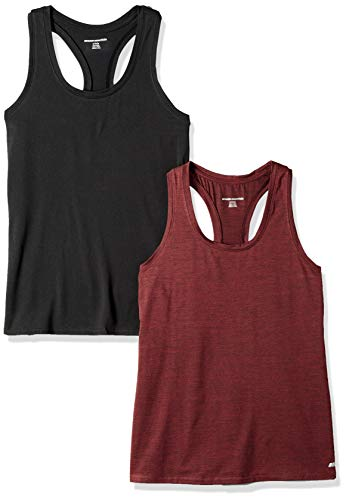 Amazon Essentials 2-Pack Tech Stretch Racerback Tank Top Athletic-Shirts, Burgundy Space Dye/Black, US L (EU L - XL)