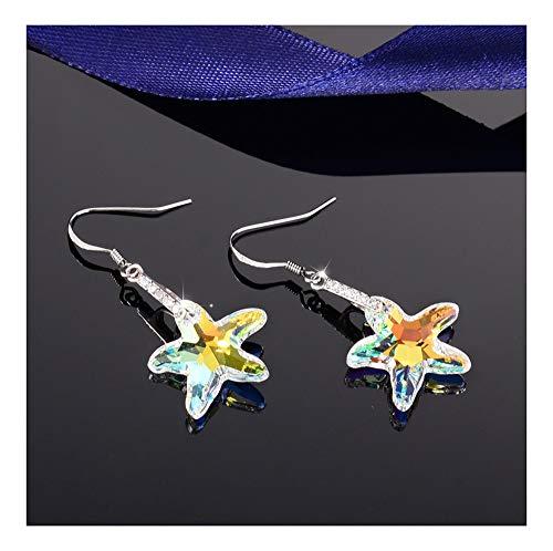 sknonr 925 Estrella de Plata Joyas Pendientes de Cristal de Regalos de cumpleaños Linda Mujer